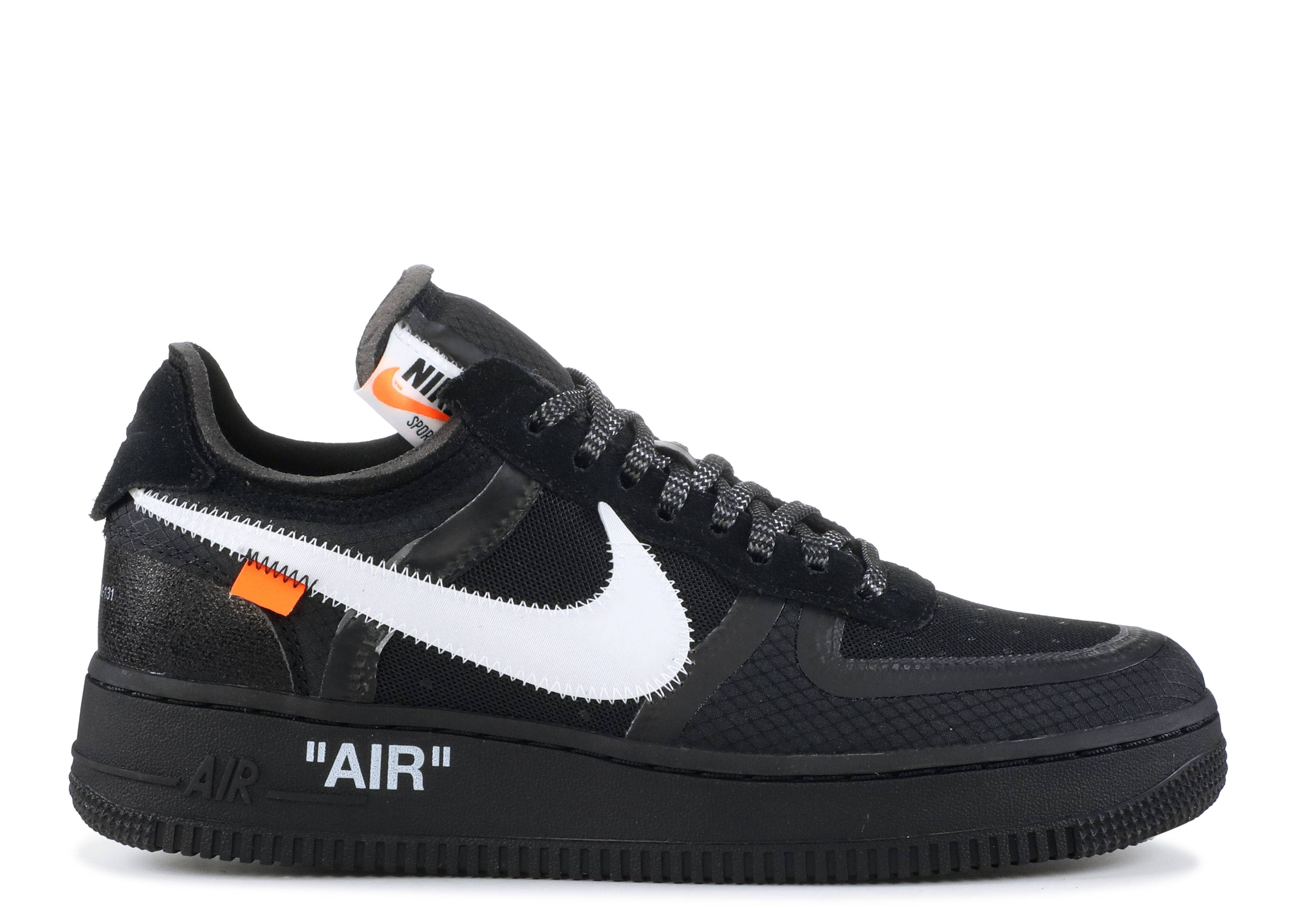 Usual Definitivo resbalón  Off White X Air Force 1 Low 'Black' - Nike - AO4606 001 -  black/white-cone-black | Flight Club