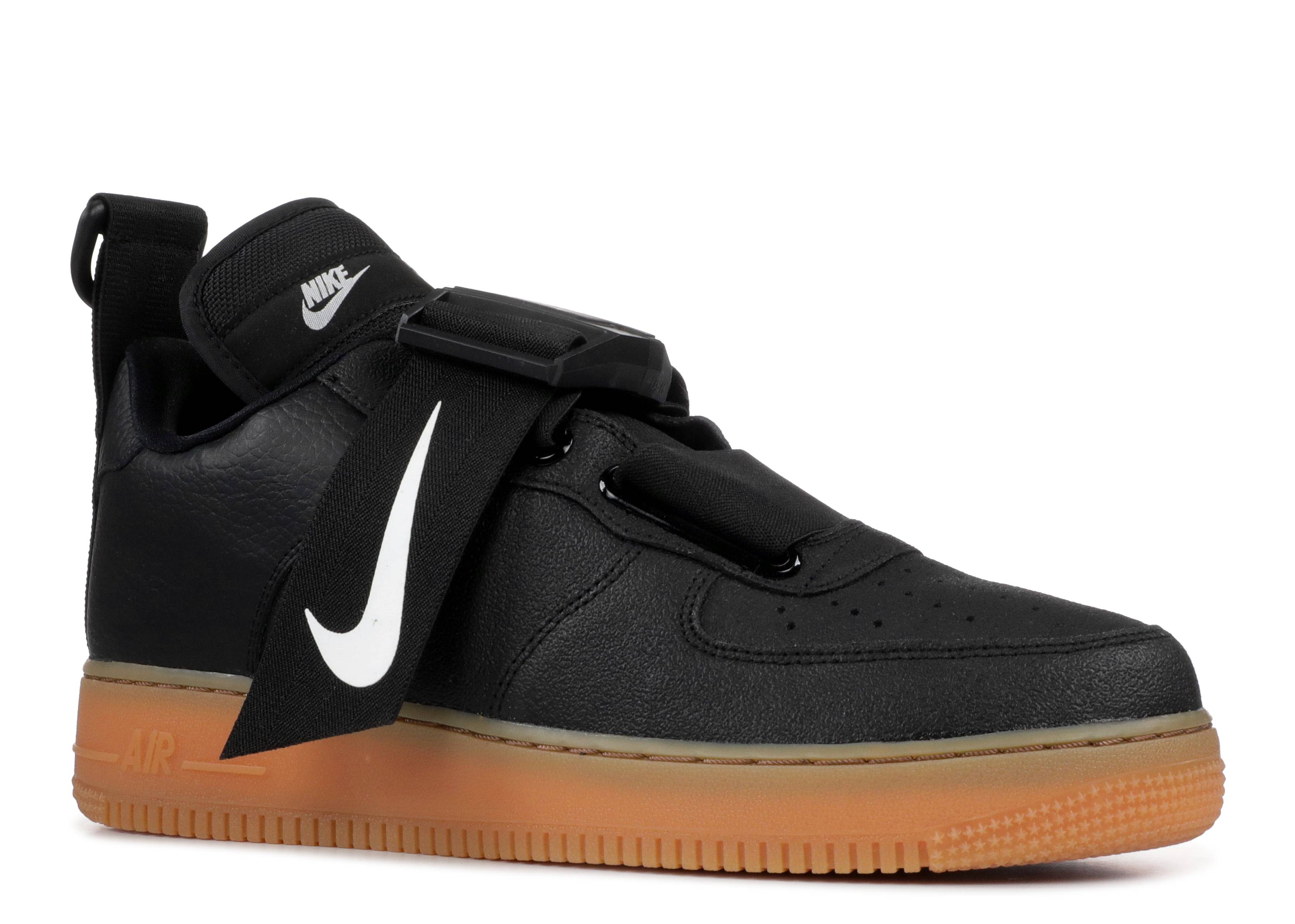 Nike Mens Air Force 1 Utility OBJ Low BlackWhiteGum Med Brown