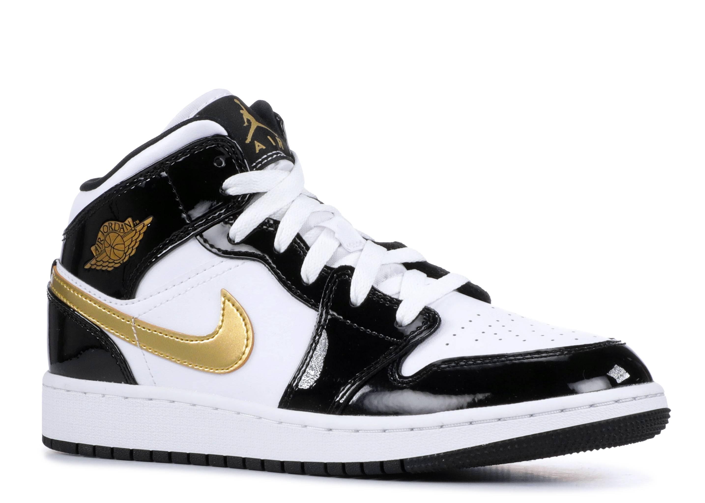 new concept faf36 f1644 Air Jordan 1 Mid Se (gs) - Air Jordan - bq6931 007 - black metallic gold- white noir   Flight Club